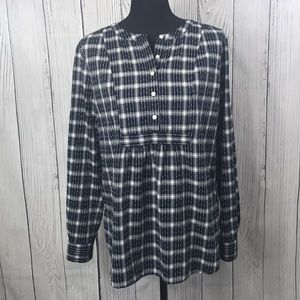 LOFT Navy & White Plaid Long Sleeve Henley Blouse